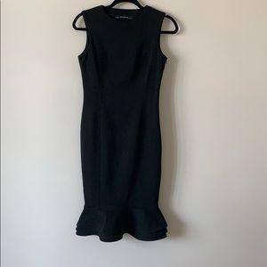 Zara Basic Ruffle Sleeveless Dress Black Small